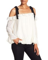 Cece by Cynthia Steffe - Ruffled Tie-shoulder Blouse - Lyst