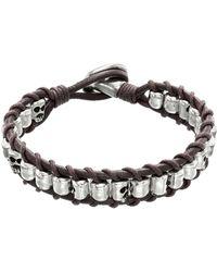 Uno De 50 - De Grup Beaded Woven Leather Bracelet - Lyst