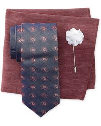 Ben Sherman - Knox Pine Tie, Pocket Square, & Lapel Stick Pin Set - Lyst