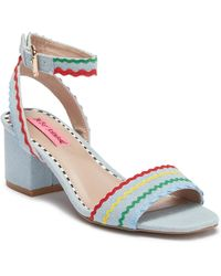 Betsey Johnson Farrah Denim Rainbow Wave Block Heel Sandals Sag03W1NN