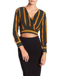 FAVLUX - Surplice Neck Long Sleeve Stripe Print Crop Top - Lyst