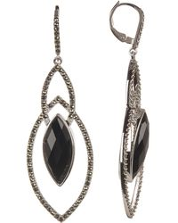 Judith Jack - Sterling Silver Pave Swarovski Marcasite Accented & Bezel Set Onyx Triple Marquise Drop Earrings - Lyst