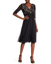 Chetta B - Elbow Length Sleeve Shirred Dress - Lyst