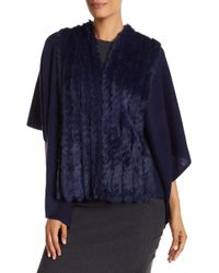 In Cashmere - Genuine Rabbit Fur Wool Blend Cape - Lyst