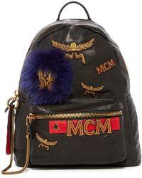 MCM - Stark Leather And Genuine Fox Fur Detail Insignia Medium Backpack - Lyst