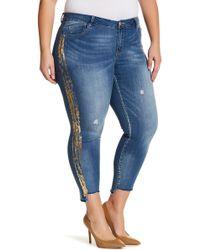 89fa0175023 Jolt - Foil Stripe Skinny Step Hem Jeans (plus Size) - Lyst