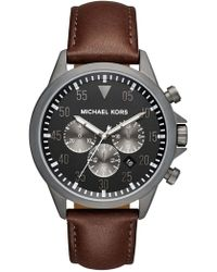 MICHAEL Michael Kors - Men's Gage Gunmetal Chronograph Leather Watch, 45mm - Lyst