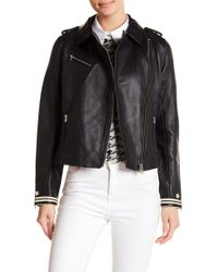 Scotch & Soda - Leather Biker Jacket - Lyst