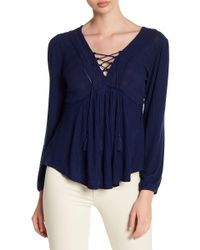 Lucky Brand - Lace-up Boho Blouse - Lyst