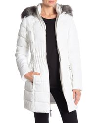 Laundry by Shelli Segal - Windbreaker Faux Fur Trim Puffer - Lyst