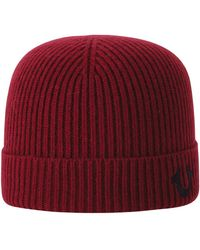 Lyst - True Religion Rib Knit Beanie in Red for Men 788c07f16ee6