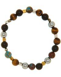 Link Up - Tiger's Eye Onyx Blue Agate Stone Bead Bracelet - Lyst