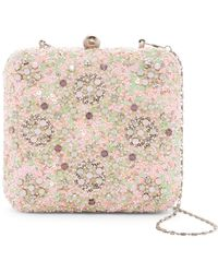 G-Lish - Beaded & Sequined Squared Hard Case Clutch - Lyst