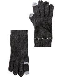 MICHAEL Michael Kors   Leather Tassel Trim Knit Gloves   Lyst