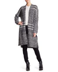 Oober Swank - Knitted Open Face Stripe Cardigan - Lyst