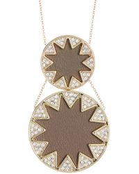 House of Harlow 1960 - Leather & Crystal Sunburst Detail Double Pendant Necklace - Lyst