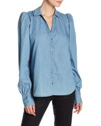 PAIGE - Enid Denim Button Down Shirt - Lyst