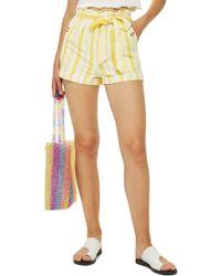TOPSHOP - Stripe Paperbag Shorts - Lyst