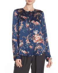 Go> By Go Silk Floral Print Ruffle Top