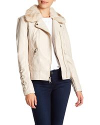 Guess - Faux Fur & Leather Moto Jacket - Lyst