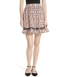 Kate Spade - Floral Mosaic Silk Blend Skirt - Lyst