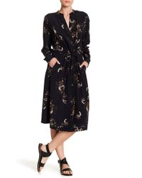 Vince - Spaced Floral Silk Shirtdress - Lyst