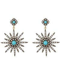 Adornia - 14k Gold Vermeil Turquoise & Swarovski Crystal Accented Starburst Earrings - Lyst