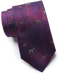 Thomas Pink Silk Deer Forest Tie - Purple
