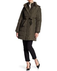 Ellen Tracy - Quilted Solid Hooded Front Zip Vestee Jacket (petite) - Lyst