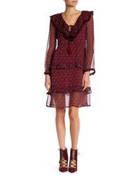 Blush Noir - Floral Print Long Sleeve Dress - Lyst