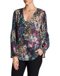 Karen Kane | Painted Floral Bell Sleeve Top | Lyst