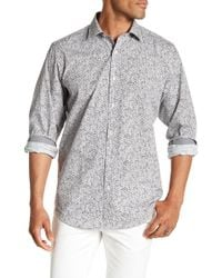 Bugatchi - Long Sleeve Classic Fit Print Woven Shirt - Lyst