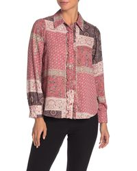 Pleione Ruffle Placket Printed Shirt - Pink