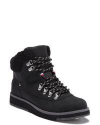 46fcd5d9e Tommy Hilfiger - Hayet Faux Fur Trim Lace Boot - Lyst