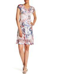 Komarov - Lace Trim Cap Sleeve Dress - Lyst