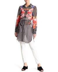 Jealous Tomato - Floral Print & Striped Blouse - Lyst