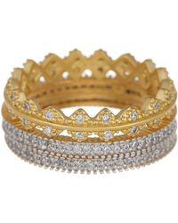 Freida Rothman - 14k Gold Vermeil Harlequin Edge Cz Ring Set - Set Of 3 - Size 6 - Lyst
