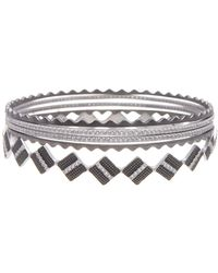 Freida Rothman - Rhodium Plated Sterling Silver Contemporary Deco Crown Bangles - Set Of 5 - Lyst