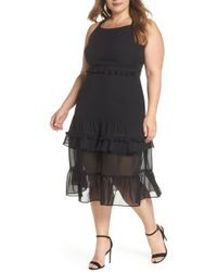 Lost Ink - Tassel Trim Sheer Hem Dress (plus Size) - Lyst