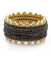 Freida Rothman - Harlequin Edge Pave Rings - Set Of 5 - Lyst