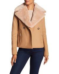 Jason Wu - Genuine Shearling Collar Wool Jacket - Lyst