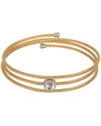 Alor - 14k White Gold & White Topaz Triple Wrap Cable Coil Bracelet - Lyst