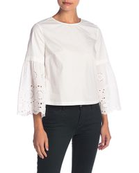 English Factory - Eyelet Lace Bell Sleeve Top - Lyst