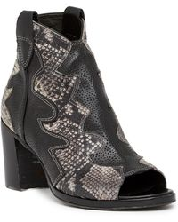 Jo Ghost - Peep Toe Python Printed Leather Texan Bootie - Lyst
