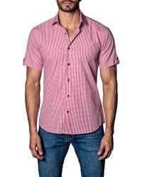 Jared Lang - Woven Gingham Short Sleeve Trim Fit Shirt - Lyst