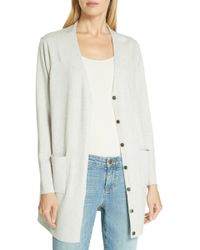 f0a0ec8ba95f0 Lyst - Eileen Fisher Mandarin Collar Wool Cardigan in Black