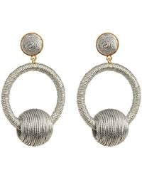 Suzanna Dai - Wrapped Cord Ball Accent Hoop Drop Earrings - Lyst