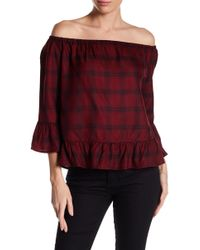 BB Dakota - Laurian Off-the-shoulder Plaid Blouse - Lyst