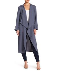Lush Draped Open Front Trench Duster - Blue