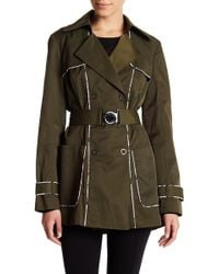 Guess - Contrast Piping Double-breasted Coat - Lyst